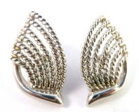 Vintage Napier Large Abstract Leaf Design Earrings.